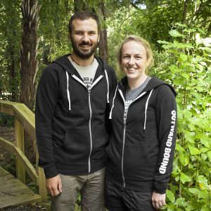 Unisex Cutter Hoody - Front | Black with white details